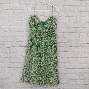 Tadashi | Green Floral Spaghetti strap Silk Dress